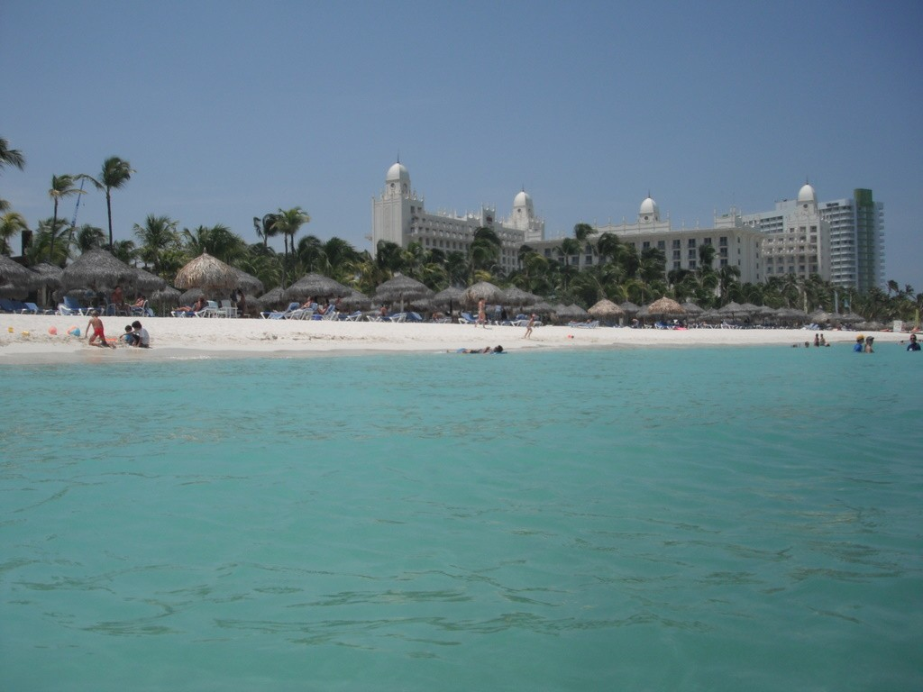 The beach, with the Riu Palace in the background