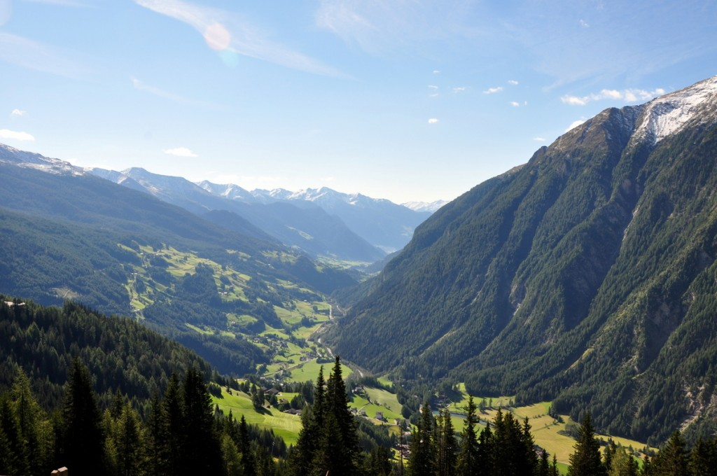 View of the valley and Heiligenblut from Gasthof Tauernalm where we stayed.