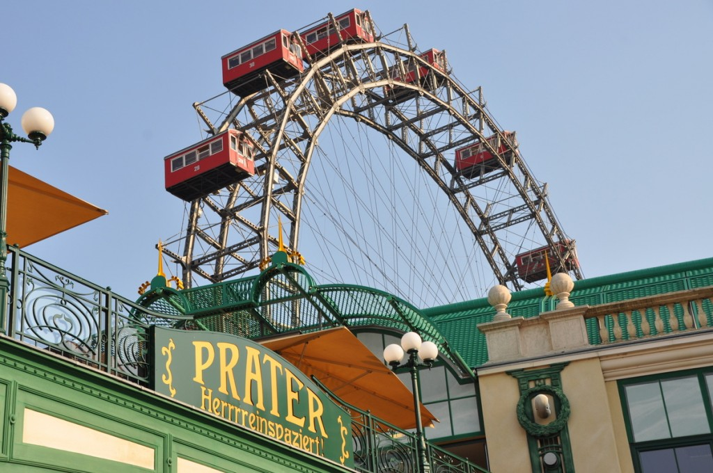 The Prater is a huge park in central Vienna. It is famous for the Riesenrad, a huge ferris wheel.