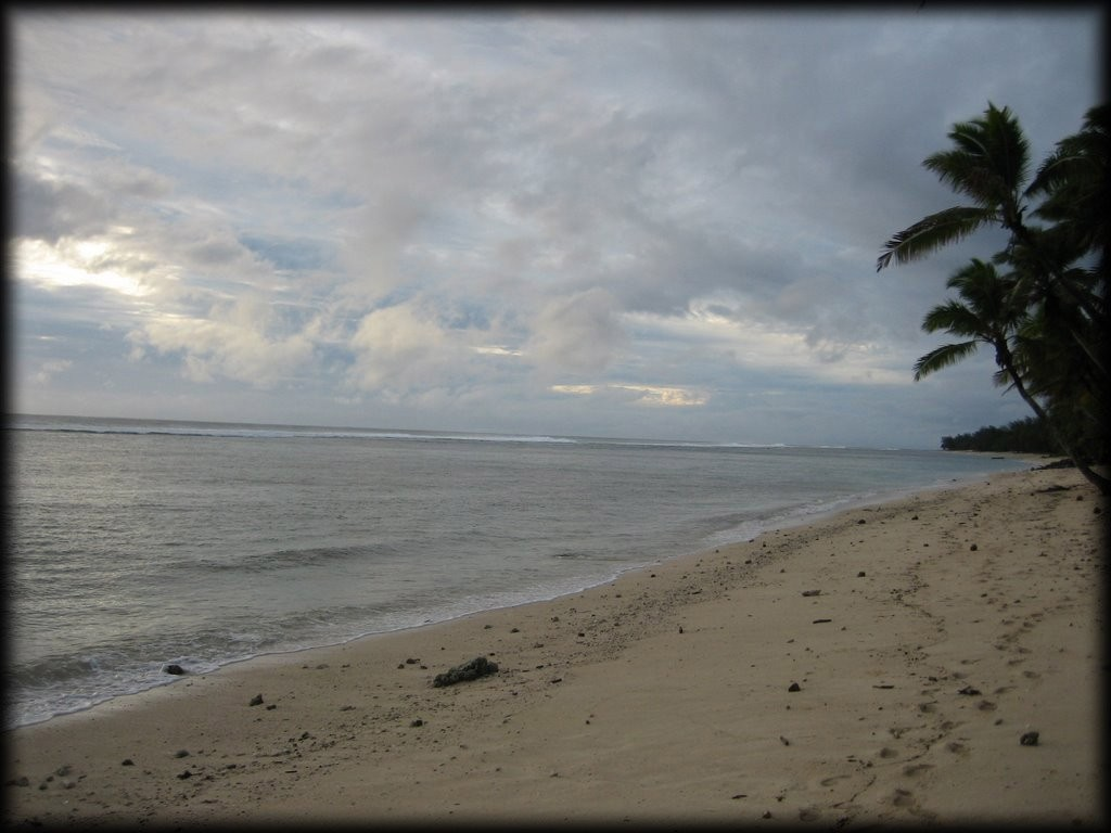 We couldn't do much on Rarotonga since it was pouring so hard.  On the final day there, it cleared up a little.  Here is the beach outside our hotel.