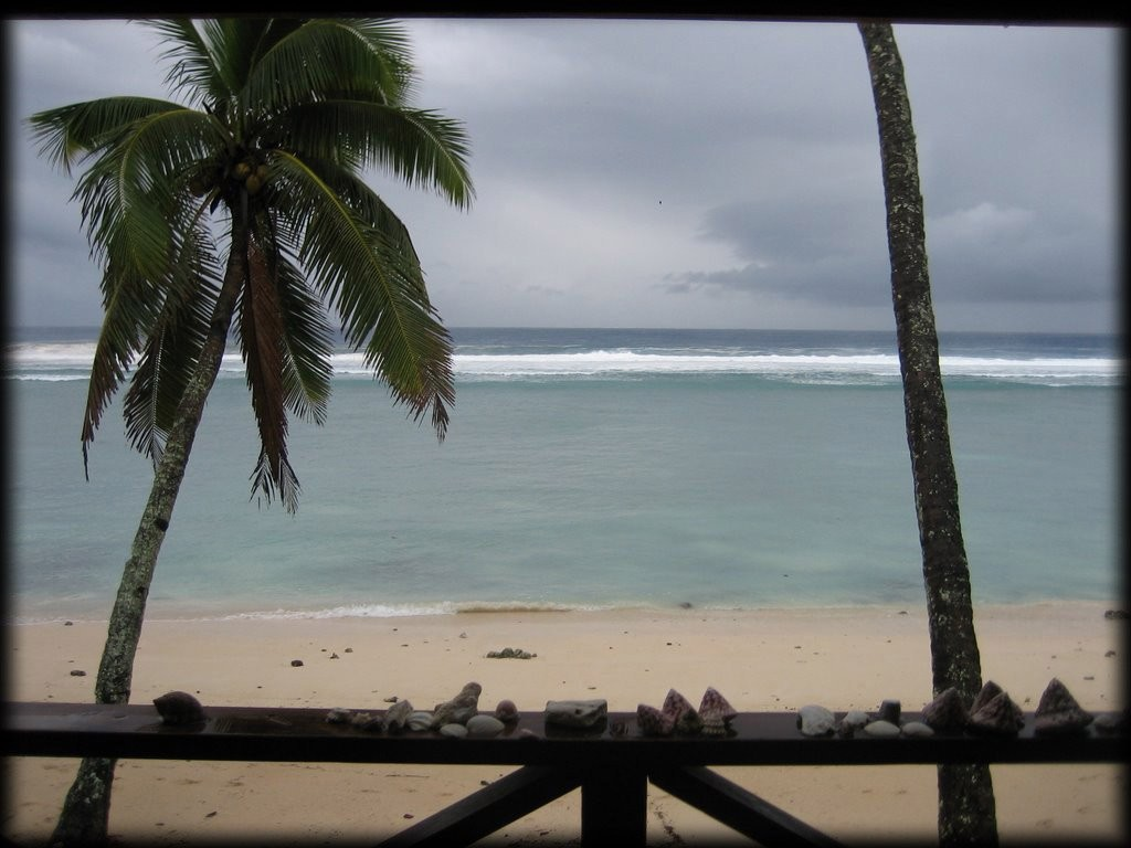View from our balcony at Rarotonga Backpackers.