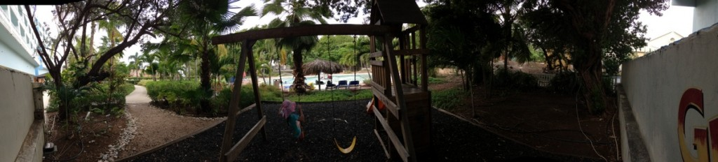 Right beside the pool was a swing set and small slide. Not in the greatest shape, but it was another good diversion.