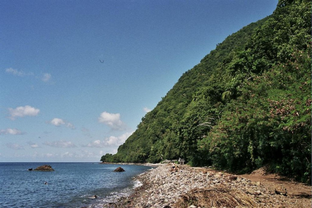 A look back before we head in to the water.  The name of the park is Soufriere Scott's Head Marine Reserve