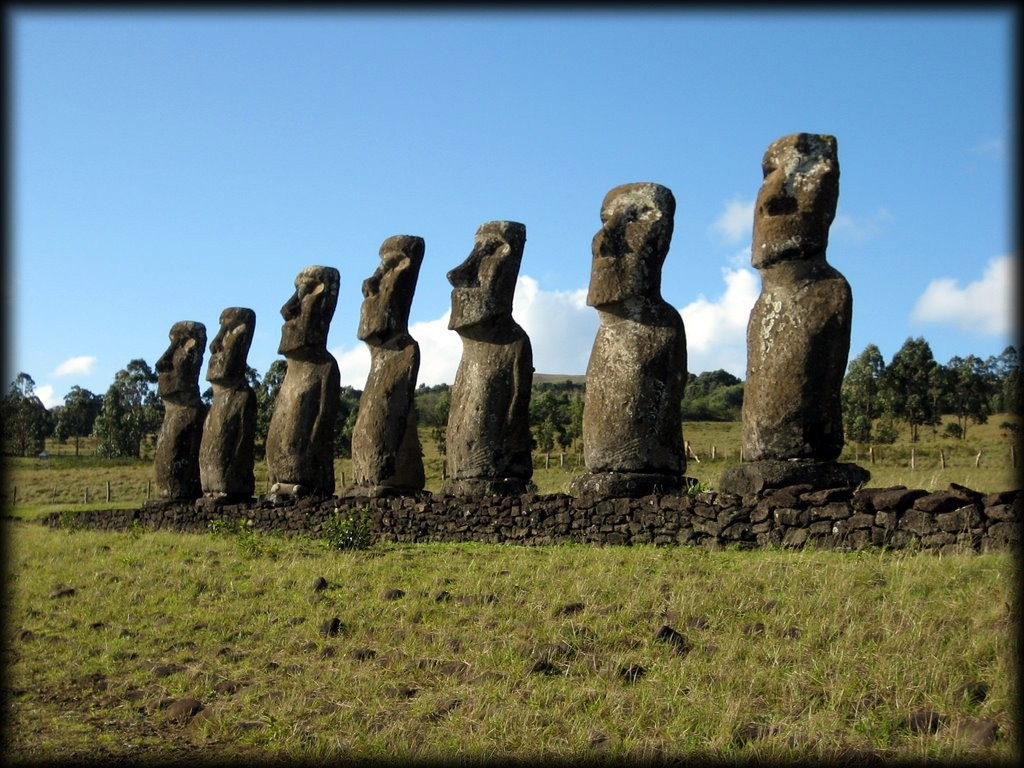 Ahu Akivi are the only moai that face the ocean.