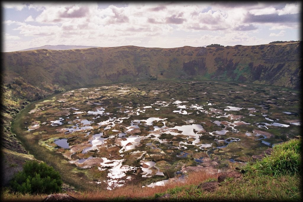 Rano Kau is a crater at the tip of the island.  (Extinct volcano).  It is 1600 m across and 200 m deep.