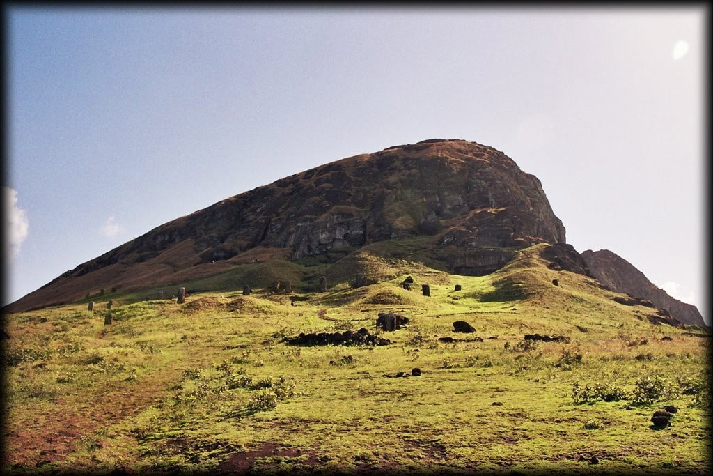 We rented a jeep for the day, and headed to Rano Raraku, the nursery.  This is the volcano from which all the moai were carved.