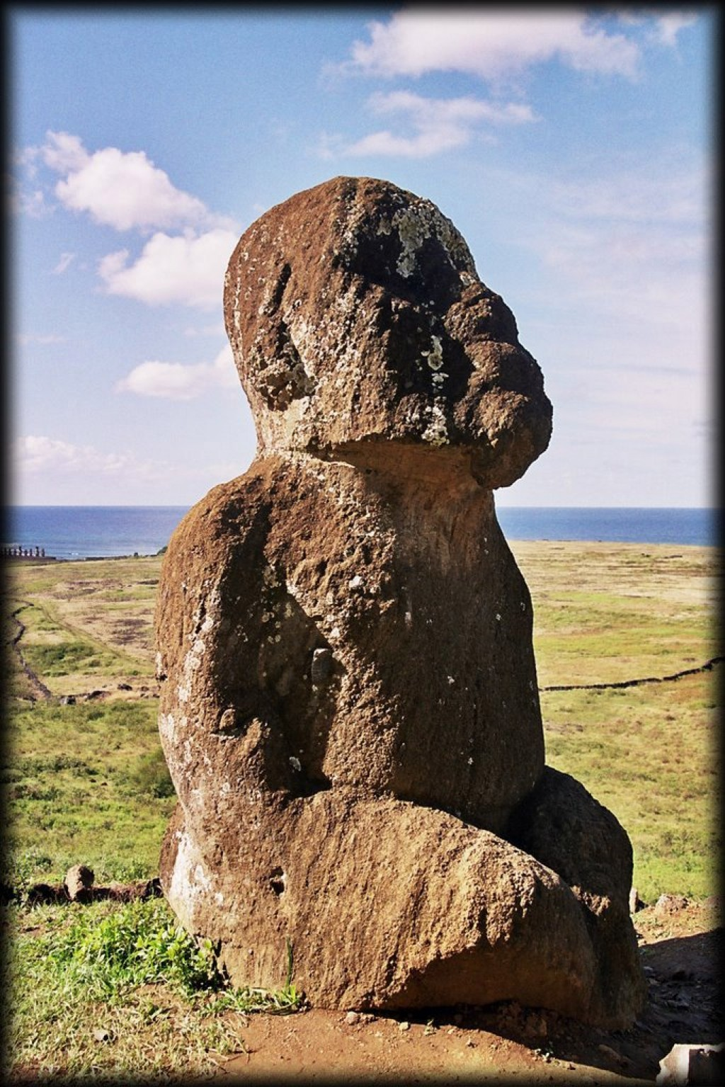 Moai Tukuturi is the only kneeling moai.  It is believed it might be a woman.