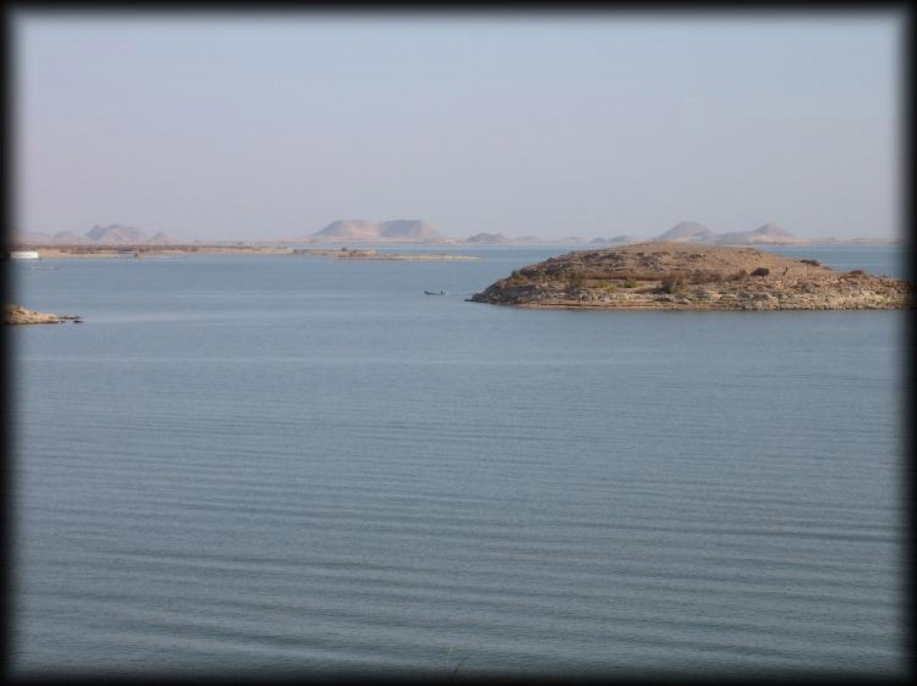 Lake Nasser, which was created by the formation of the dam.