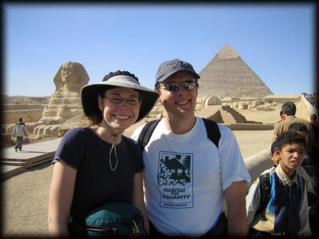 We visited the Pyramids of Giza outside of Cairo.