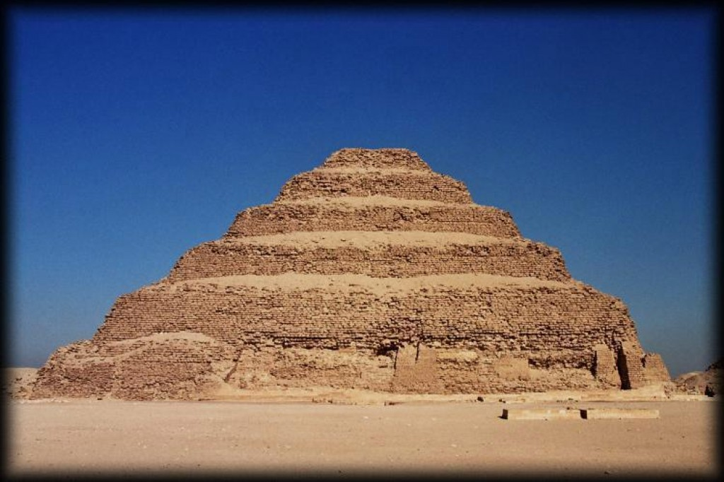 Zozer's step pyramid is the first major Egyptian structure constructed entirely in stone and was a major change in the building techniques of the Egyptians. The pyramid is about 200 feet tall.  The burial chamber was located 28 feet underground, at the end of a steep vertical shaft leading down under the pyramid.