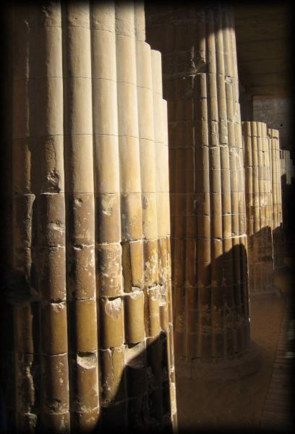 It is a long hall with twenty pairs (40 total) of limestone columns.