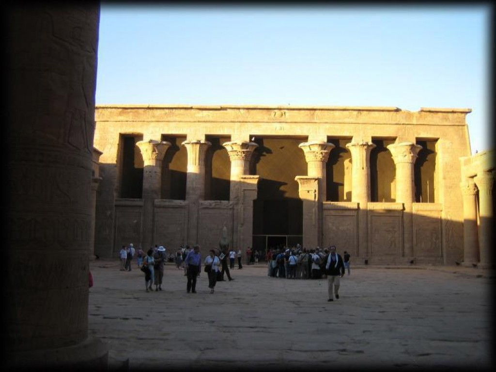 Between Aswan and Luxor is located the major Ptolemaic temple of Edfu - the best preserved major temple in Egypt. The temple is dedicated to the falcon god Horus and was built over a 180-year period from 237 BC to 57 BC.