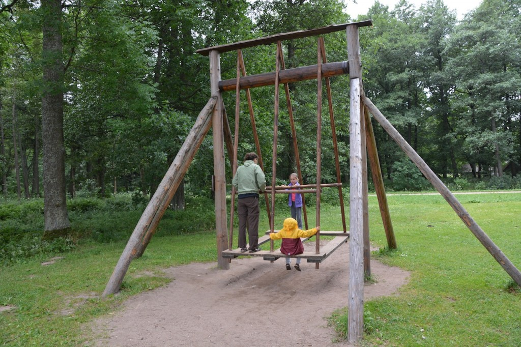 Giant old school wooden swing that we had fun playing on.