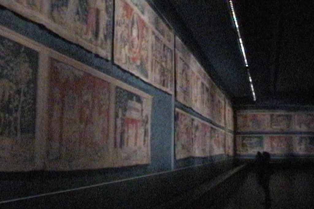 Woven in the 14th century, the Apocalypse Tapestry was torn up for blankets during the French Revolution.  Originally 440 feet long, 338 feet survived and have been restored.