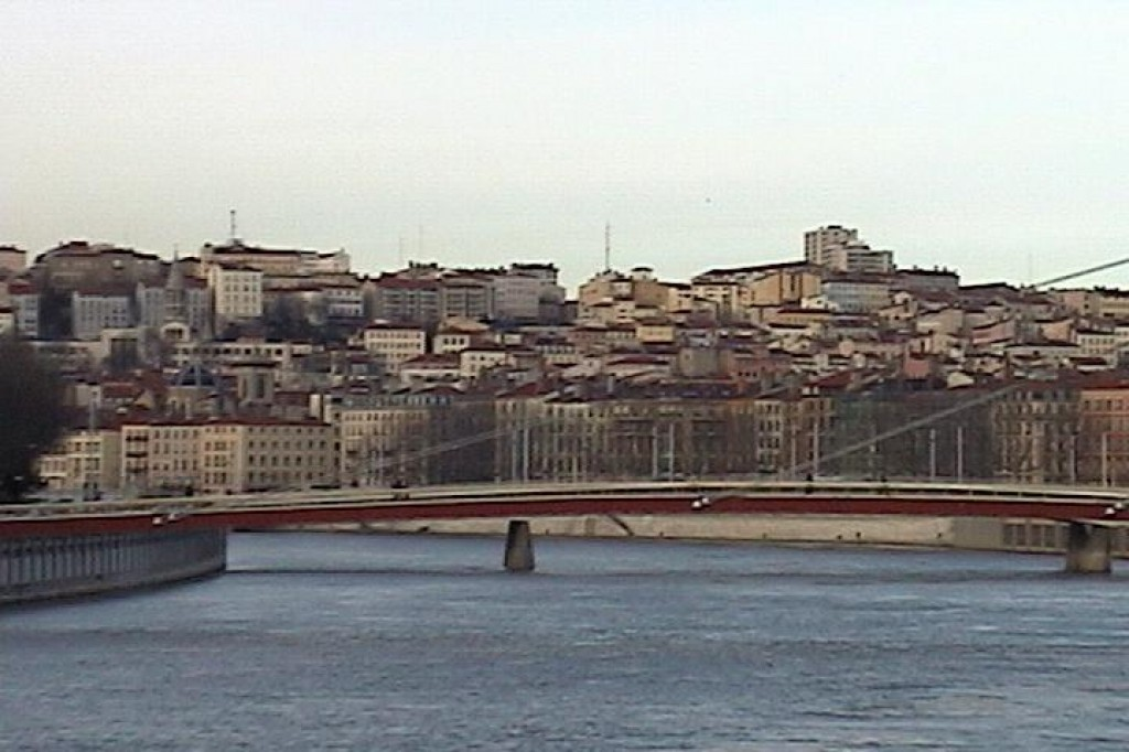 Two rivers run through Lyon, the Saône and the Rhône.  This is the view of a bridge over the Saône.
