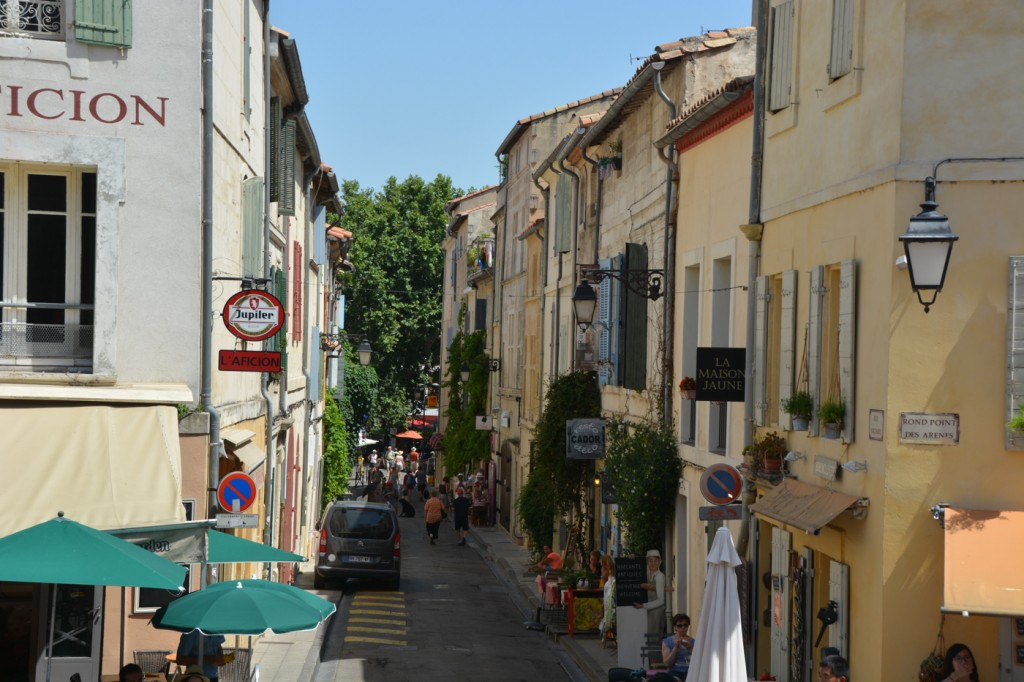 Looking down the Rue Voltaire near Rond Point des Arenes