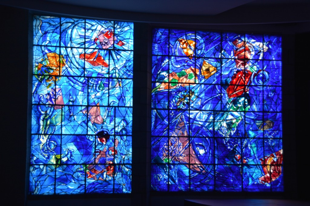 Stained glass Chagall window at the Musee National Marc Chagall