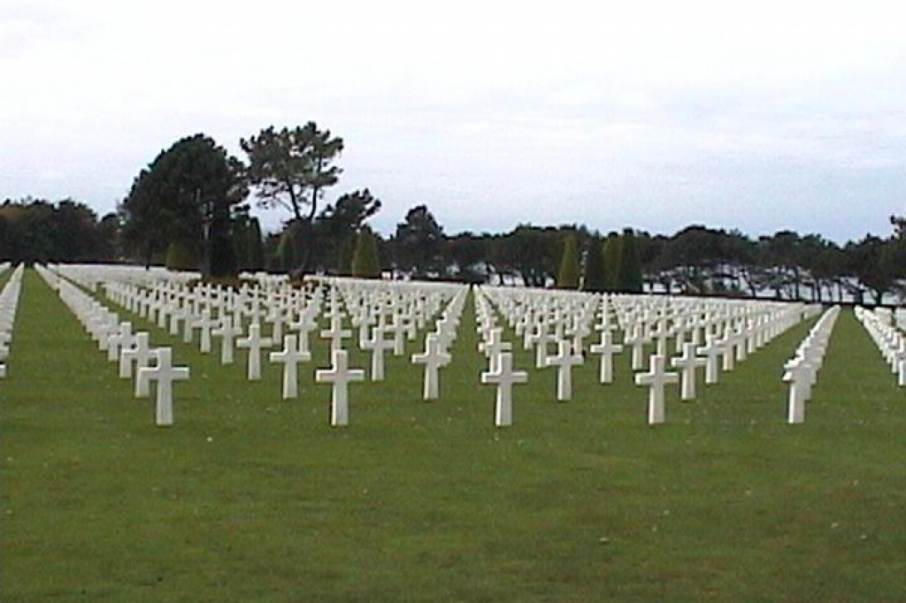 The American Cemetery at Colleville-sur-Mer, near Omaha Beach.  The cemetery is so large it would take an aerial photo to capture it all.  Nearly 10,000 American soldiers are buried there.