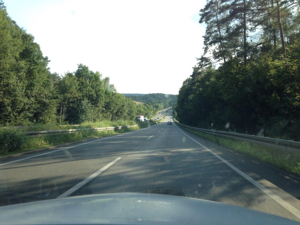 Driving the Autobahn into Frankfurt from Berlin