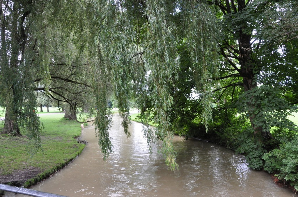 In the English Garden, crossing a swelling creek