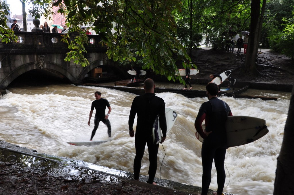 Surfing in a river in the English Garden