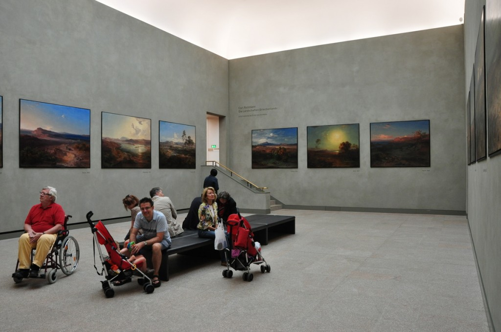 Lots of seating at the Neue Pinakothek, very stroller friendly.  This is the Carl Rottmann room