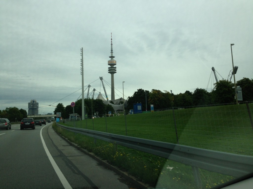 Passing by the Olympic Stadium on our way out of Munich