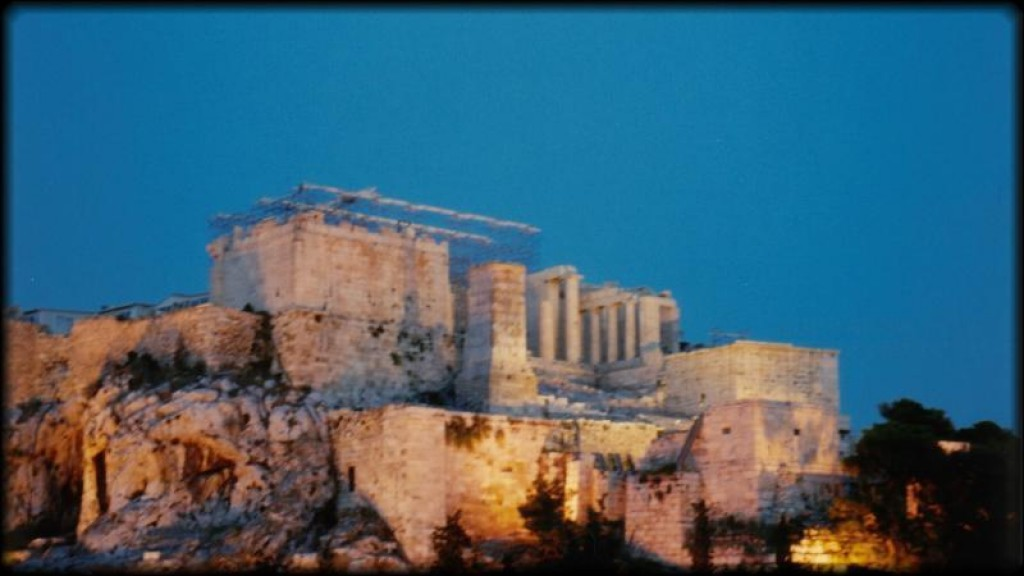 The Parthenon is lit up beautifully in the evening.