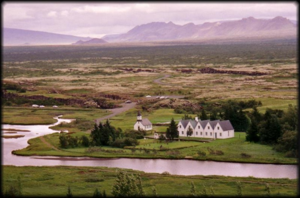 Thingvellir is where the Icelandic parliament was formed.  The PM still spends his summer in the middle house seen here.