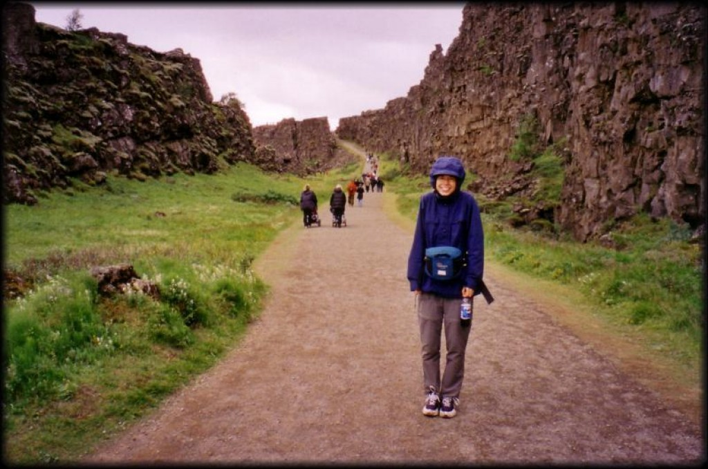 Wendy looking very cold outside Thingvellir.