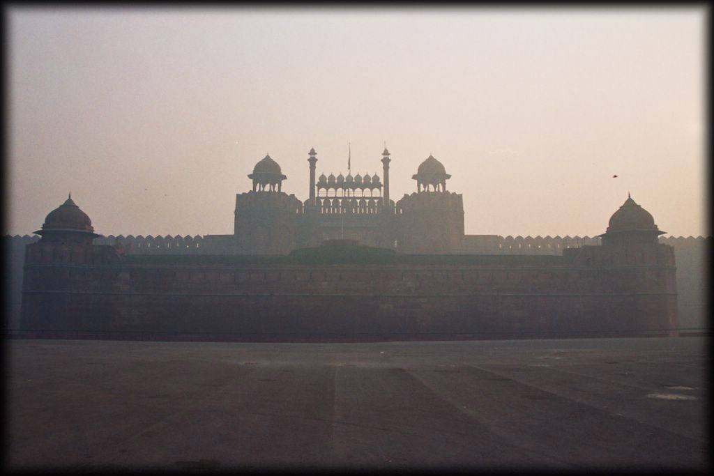 Approaching the Red Fort in the morning .
