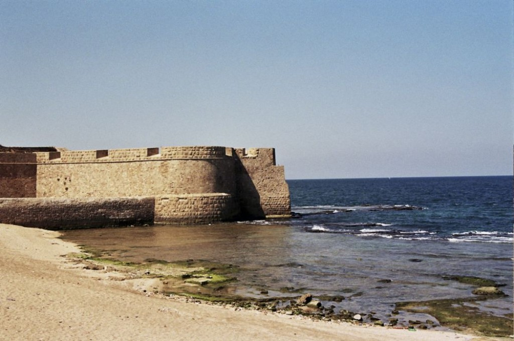Old City Walls outside Akko. It is on a peninsula in the Meditterean Sea.