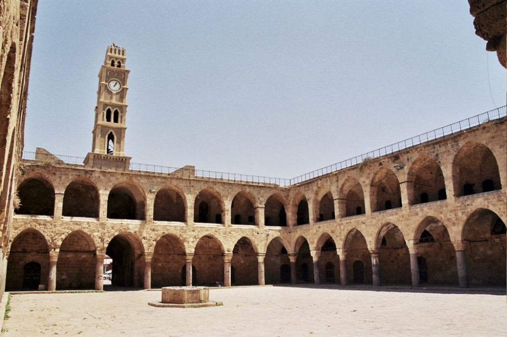 The Khan al-Umdan (Inn of Pillars) with its pillars the citadel of Akko. It is an old caravanserai.