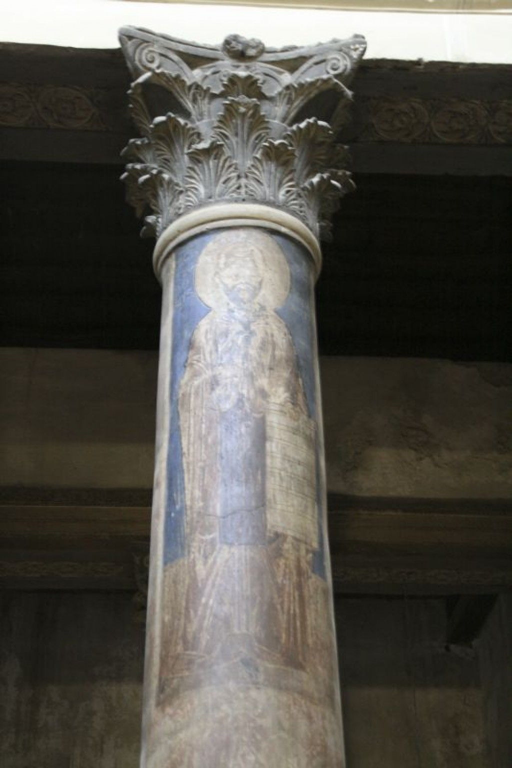 Frescoe on one of the columns in the Church of the Nativity (Basilica of the Nativity).