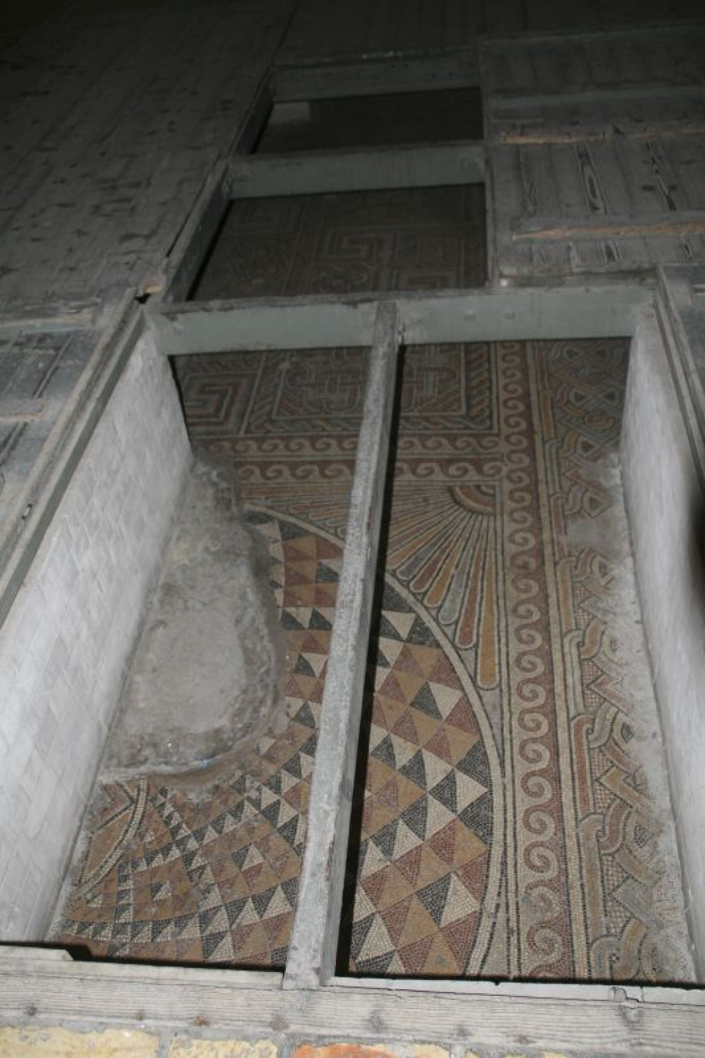 Constantine's 4th century mosaic floor rediscovered in 1934 in the Church of the Nativity (Basilica of the Nativity).