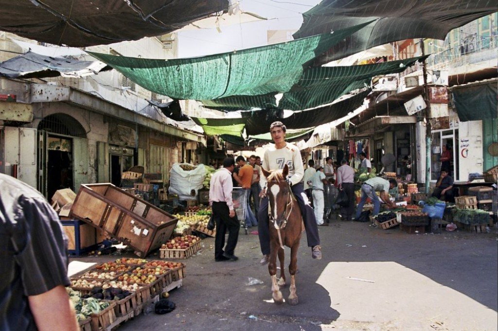 On the way to the mosque/synagogue - walking through the market in Hebron.