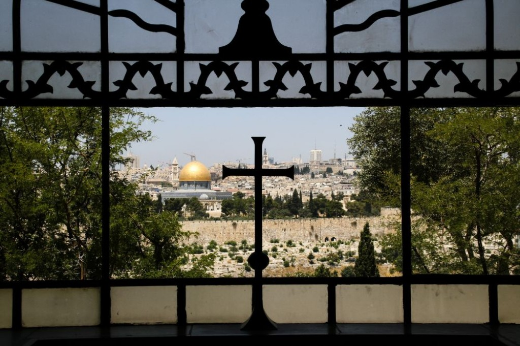 View from the apse of the Church of Dominus Flavet looking toward the Old City of Jerusalem and the Temple Mount.