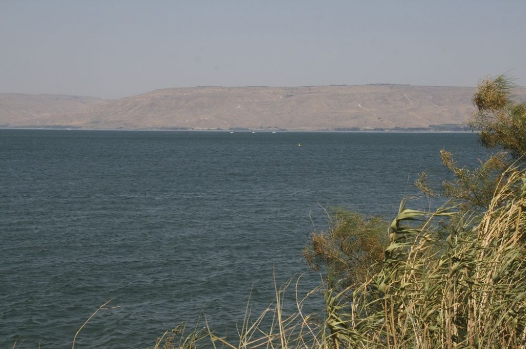 Looking across to the other side of the Sea of Galilee.
