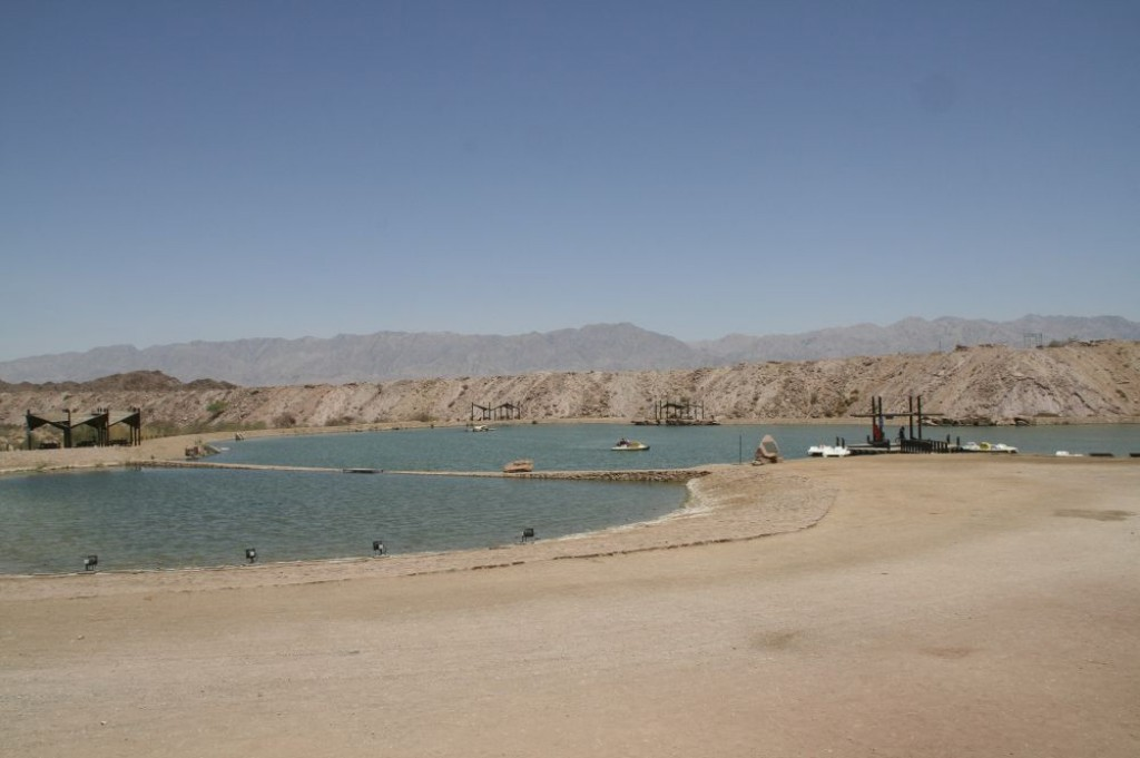 Timna Lake, an artificial lake in the middle of Timna National Park, where you can rent a canoe and paddle around this small pond.  No swimming, though.