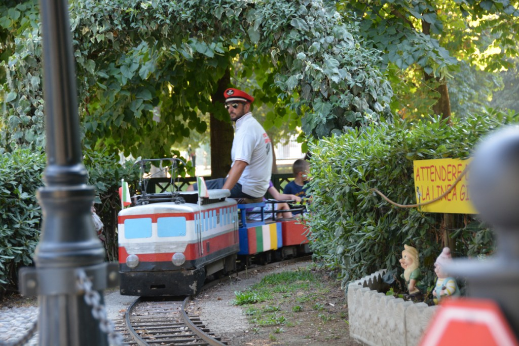 Miniature train ride inside the park next to the castle.