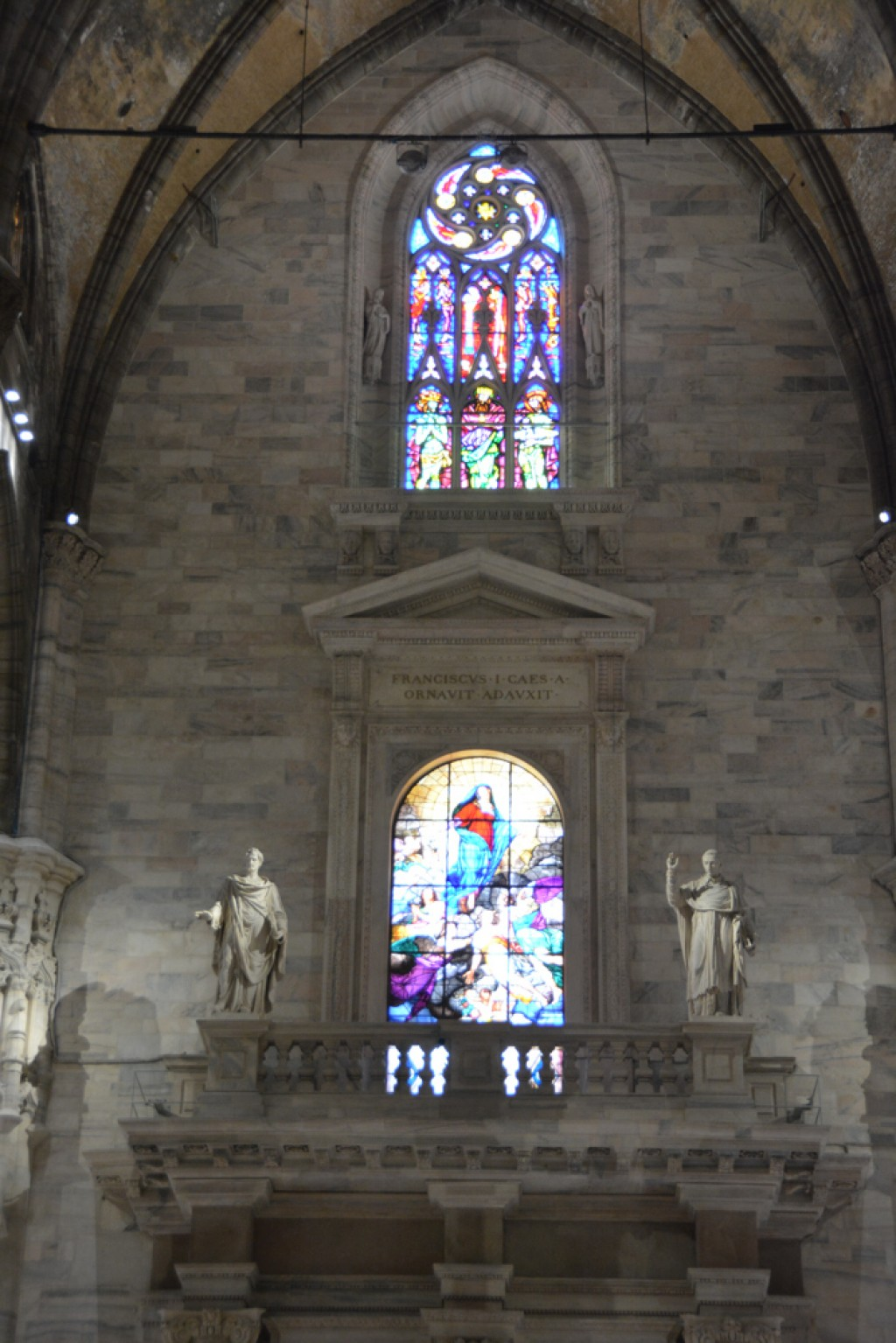 Beautiful stained glass inside the Milan Cathedral