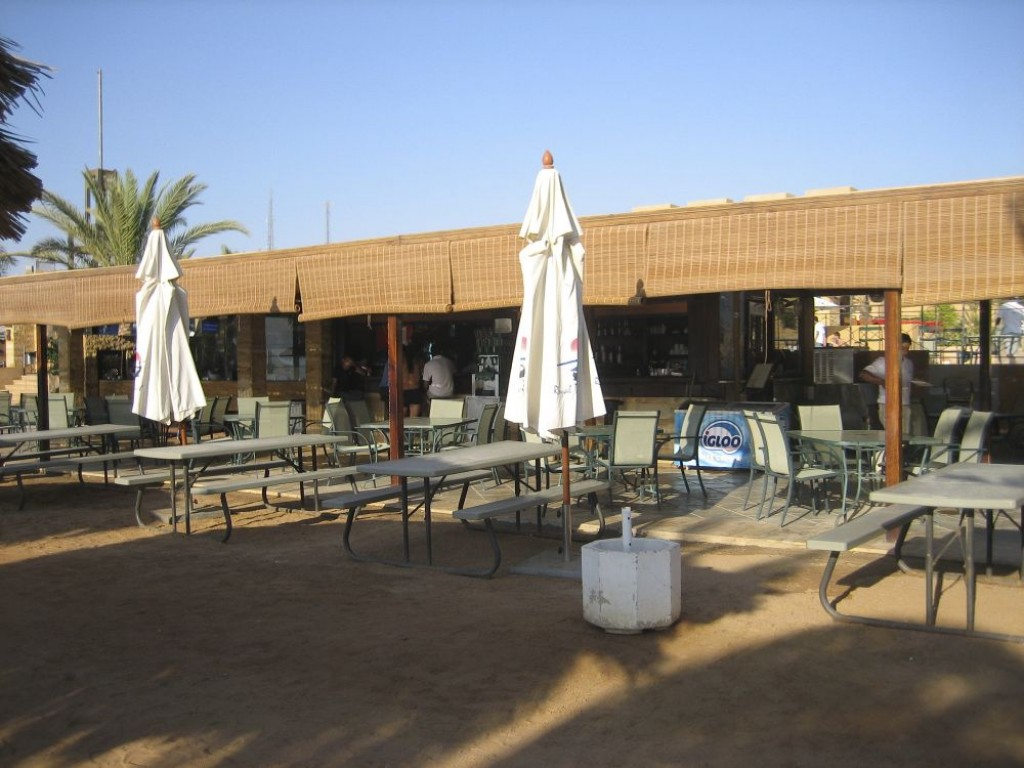 The beach bar served snacks, including hot food, and was a cheaper alternative to the restaurant.