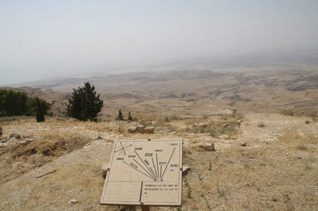 On a clear day from Mt Nebo, you can see Hebron, Bethlehem, the Dead Sea, Qumran, Jerusalem, Ramallah, Jericho, Nablus, and Lake Tiberias.