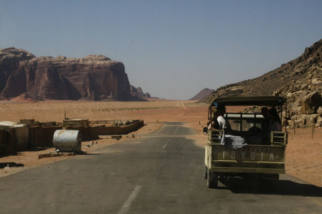 The end of the paved road in Wadi Rum, at the exit of Rum Village.