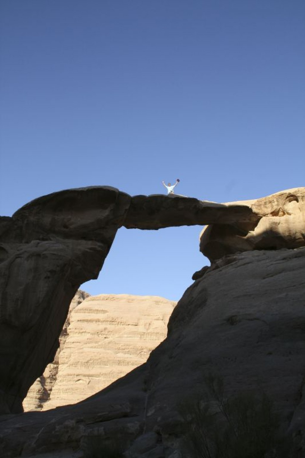 On top of Um Fruth Rock Arch, the nicest rock arch in Wadi Rum - and also very acessible.