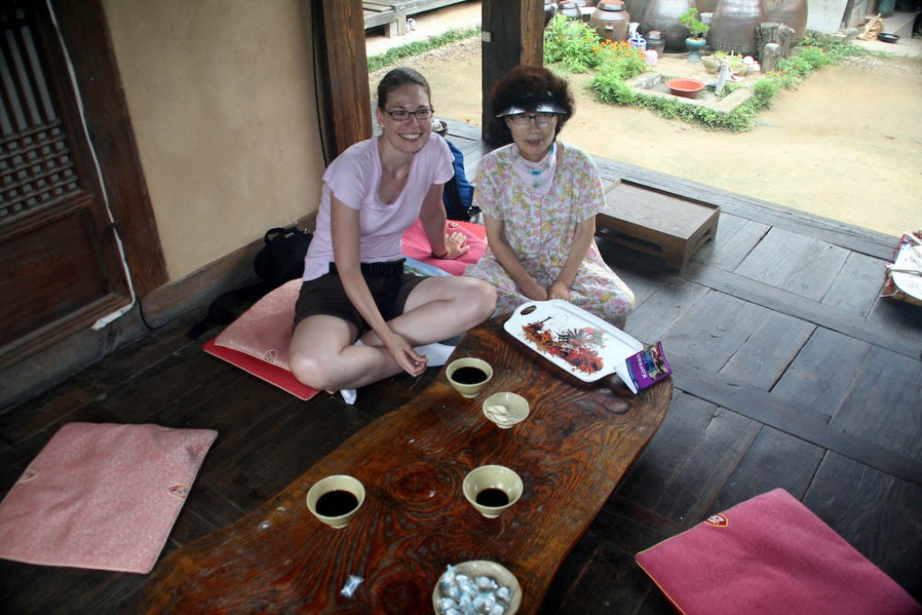 We stopped for tea at? a traditional house.  It was pretty horrible tea, with lots of gestures back and forth with the owner of the house to communicate.  But that's what traveling is all about, right?