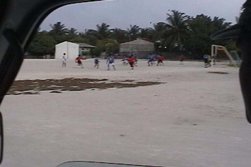 Locals playing soccer.  We were very impressed with how clean the town was and how friendly everyone was.