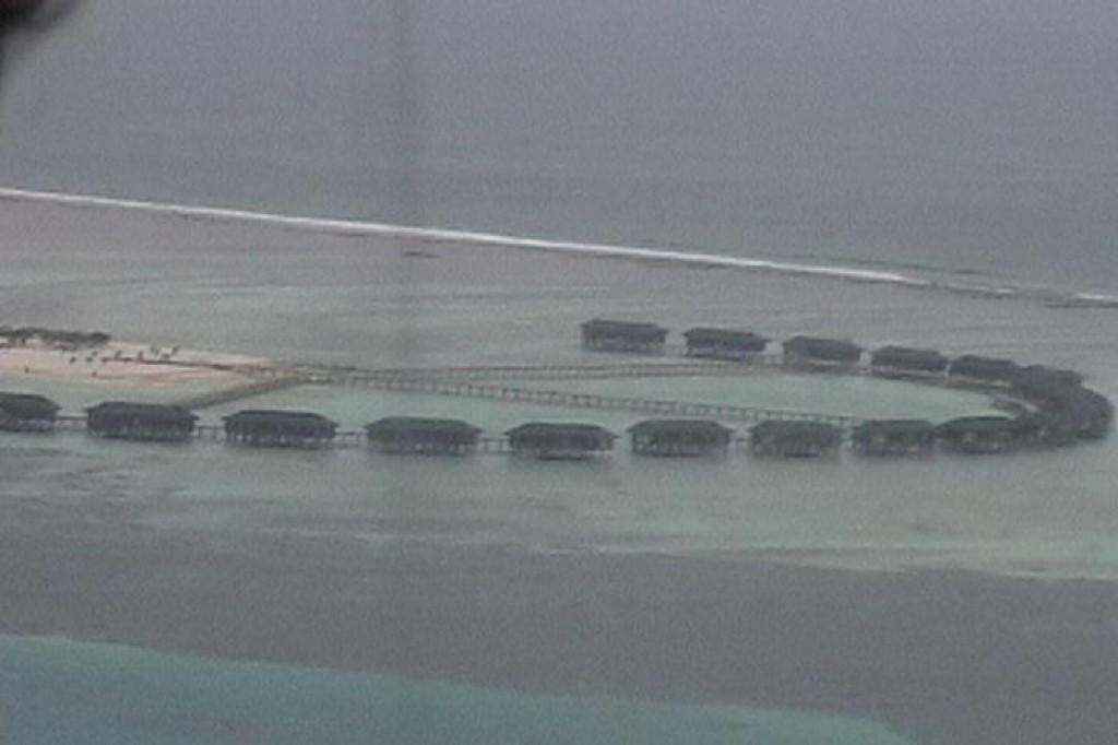 This is a picture we took of the water bungalows from the seaplane excursion.