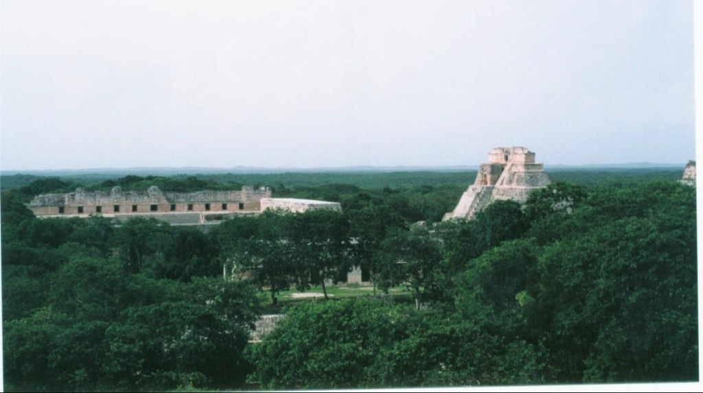 "A view of the Pyramid of the Magician.  Uxmal means ""thrice-built"" in Mayan.  They would build temples on top of one another.  In fact, this pyramid has 5 phases of construction that have been found."