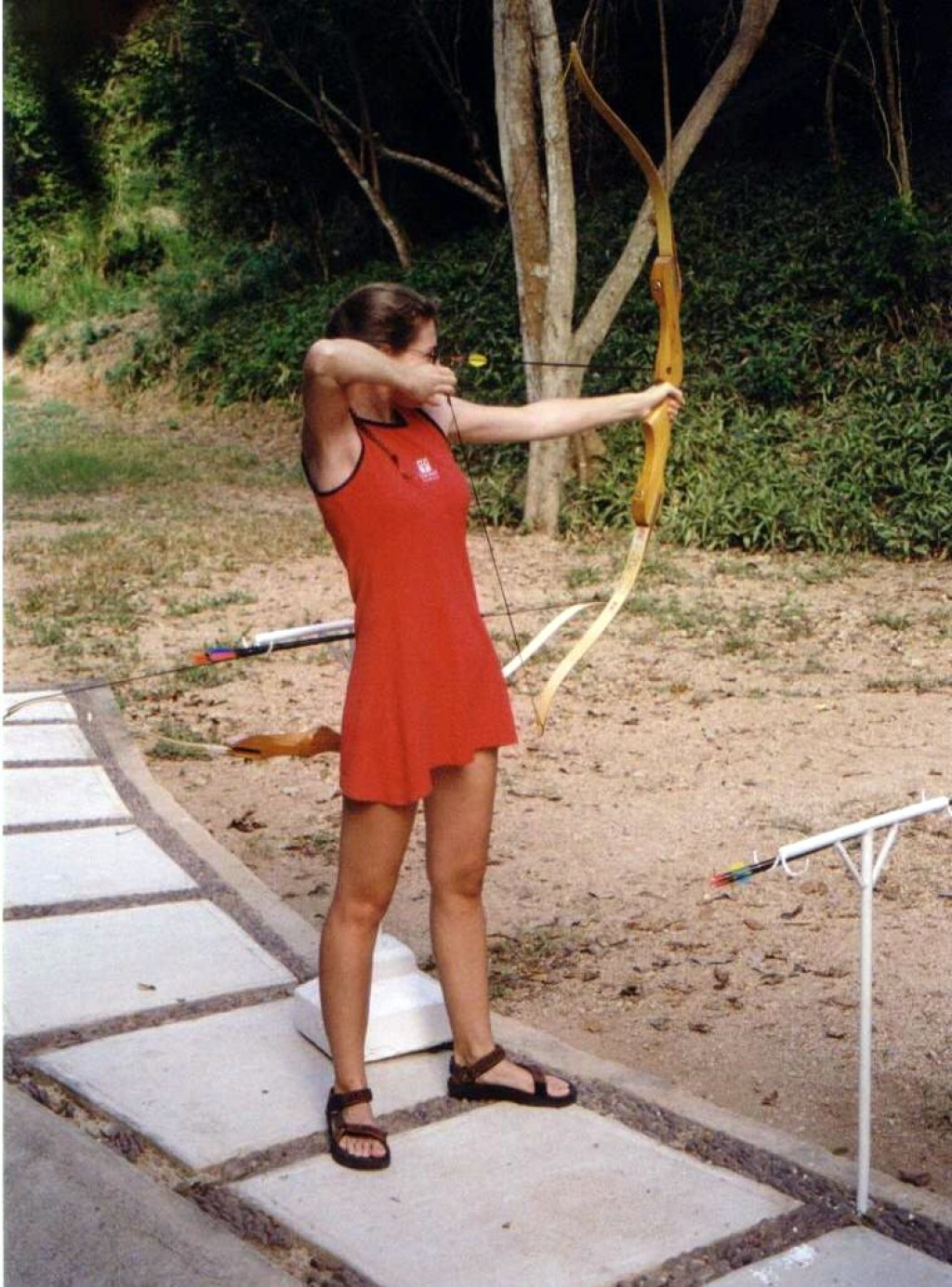 Wendy on the way to her third place medal in the archery competition.  And yes, there were more than three contestants!